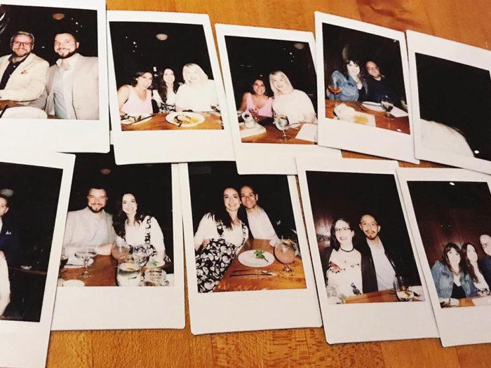 Polaroids, group, teamwork